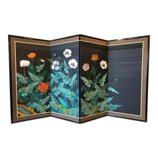 Japanese Four Panel Screen With Painted Flowers on Silk For Sale