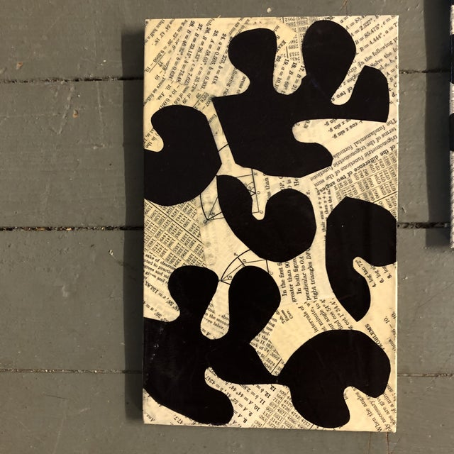 3 original wrapped vintage paper collages by Wayne Cunningham 2 are 6 x 9.5 one is 5.5 x 8.5