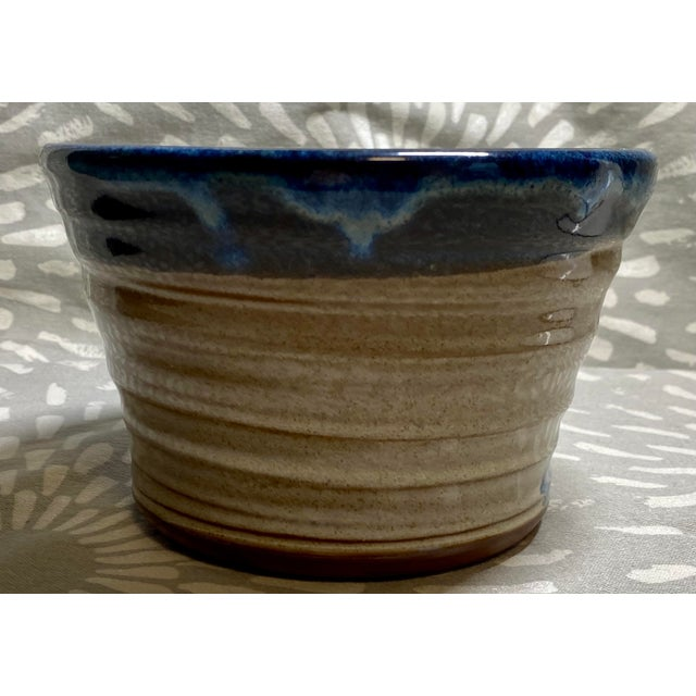 Handsome vintage Clement Clayworks drip glazed pottery bowl / cachepot. Would also make good catchall bowl.