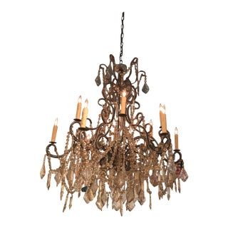 Modern Italian Amber Crystal Chandelier For Sale