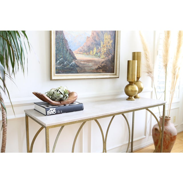 Modern Geometric Furniture Modern Geometric Gold Iron White Marble Console