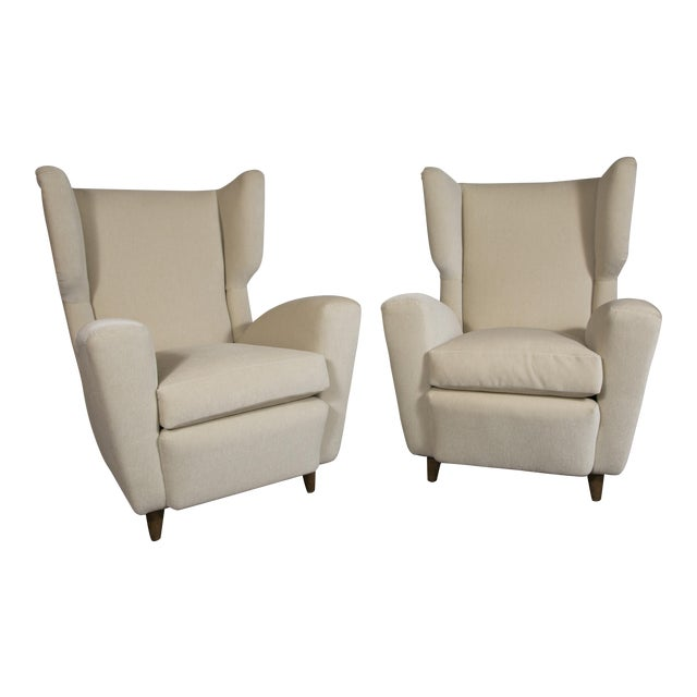 Pair of Wingback Chairs, Italy, 1950's For Sale