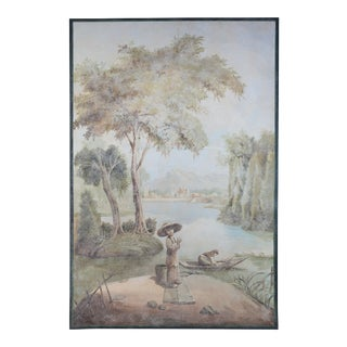 Vintage Wood Panel Painting. Old-Fashioned Chinoiseres Pattern For Sale