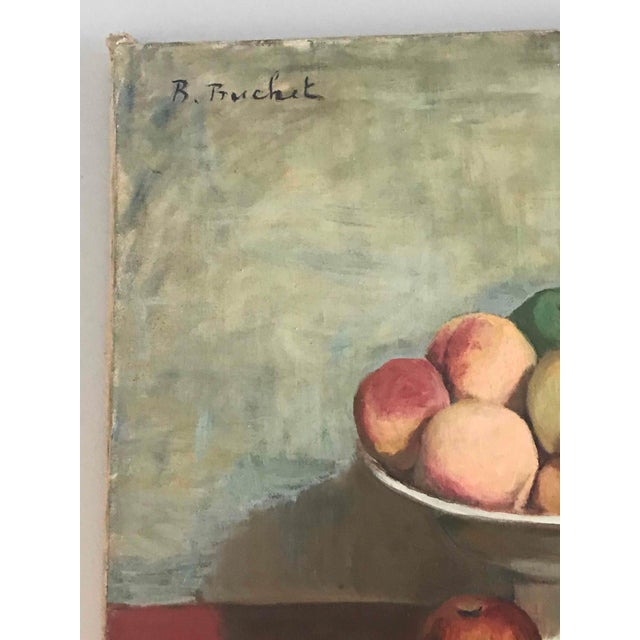 Still life oil painting on canvas of fruit bowl from France circa 1900.