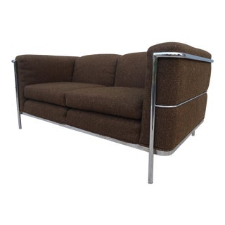 Brown Le Corbusier Lc2 Style Loveseat Settee For Sale