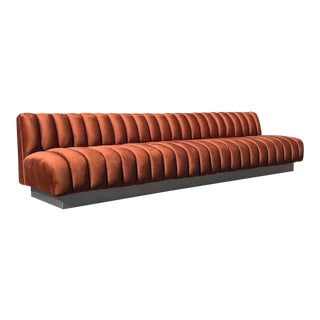 Velvet Terra-Cotta Booth/Sofa For Sale