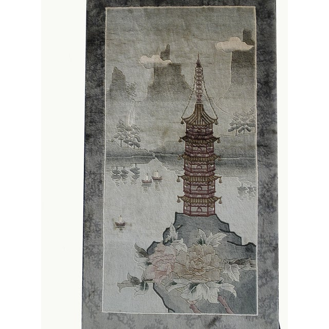 Vintage Chinese Wool Wall Hanging Rug Tapestry 'Temple W Lake and Boats' For Sale - Image 4 of 13