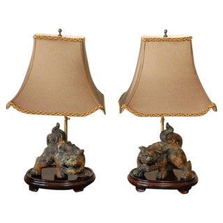 Foo Dog Table Lamps - A Pair For Sale