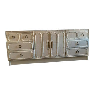 1950s Hollywood Regency White Lacquer Faux Bamboo Credenza/Dresser For Sale