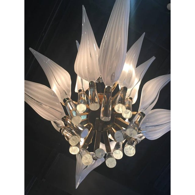 Metal Murano Glass & Brass Italian Leaf Chandelier For Sale - Image 7 of 8