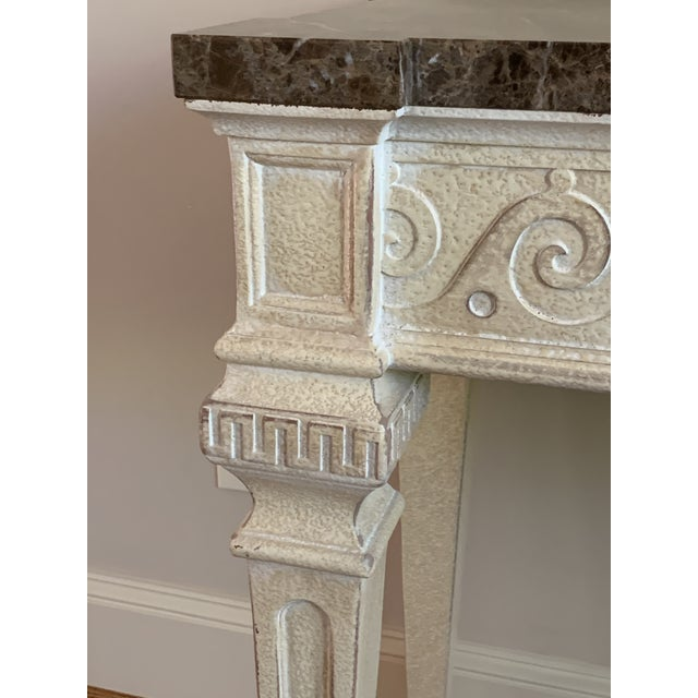 Henredon Vintage Louis XVI Style Henredon Ivory/Brown Marble Console For Sale - Image 4 of 13