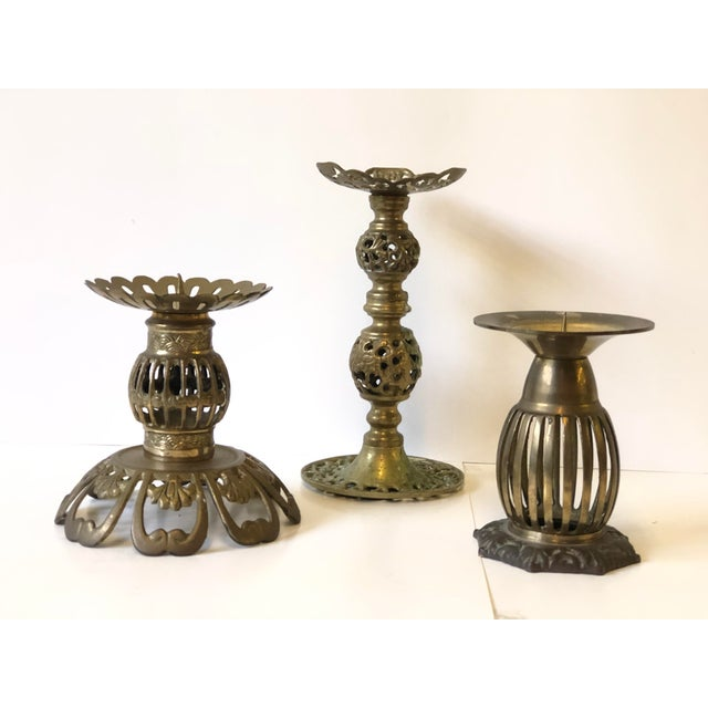 Mid-Century Modern 1970s Brass Bohemian Candlesticks - Set of 3 For Sale - Image 3 of 11