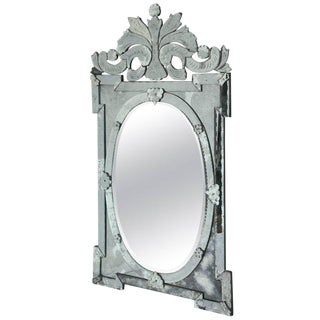 1940s Monumental Venetian Mirror with Hand Etched Designs
