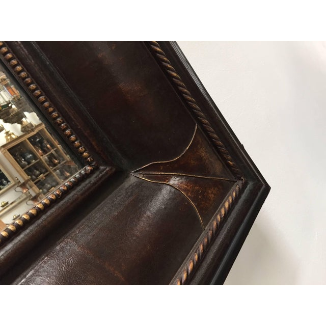 Leather Wrapped Mirrors, Pair For Sale - Image 10 of 11