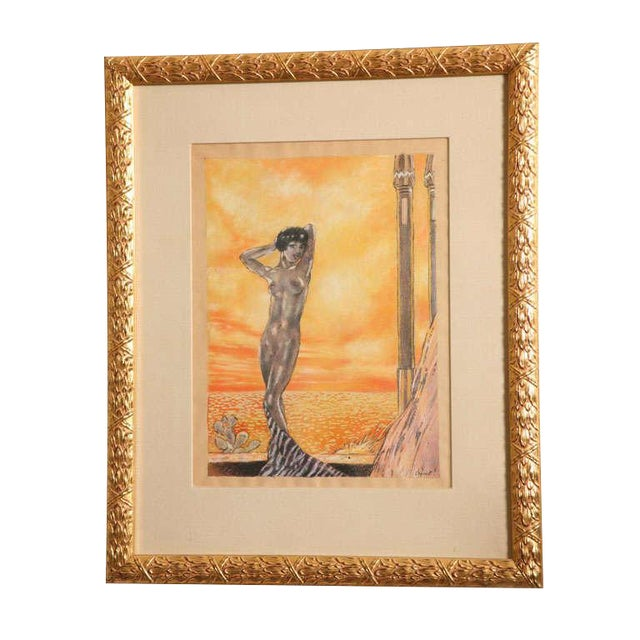One of a Kind Art Deco Watercolor by Eduard Chimot Custom Framed For Sale