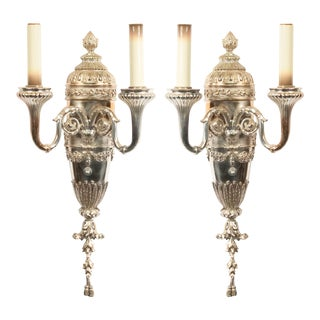 English Georgian Style Silver Plate Wall Sconces For Sale