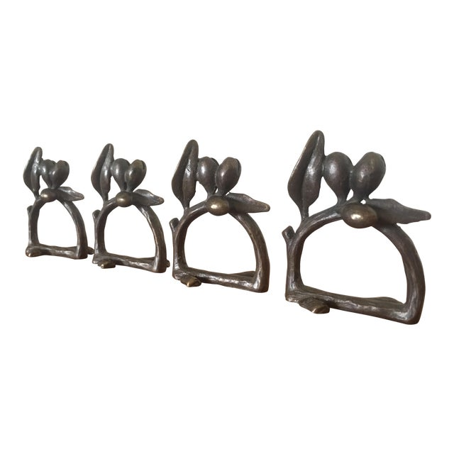 Cast Iron Olive Branch Napkin Rings - Set of 4 - Image 1 of 5