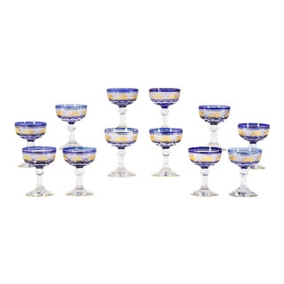 Set 12 Val Saint Lambert Cobalt Cut to Clear Gilt Goblets Champagne or Martinis For Sale