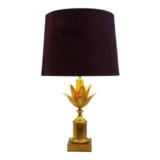 """1960s Maison Charles """"Lotus"""" Brass Table Lamp For Sale"""