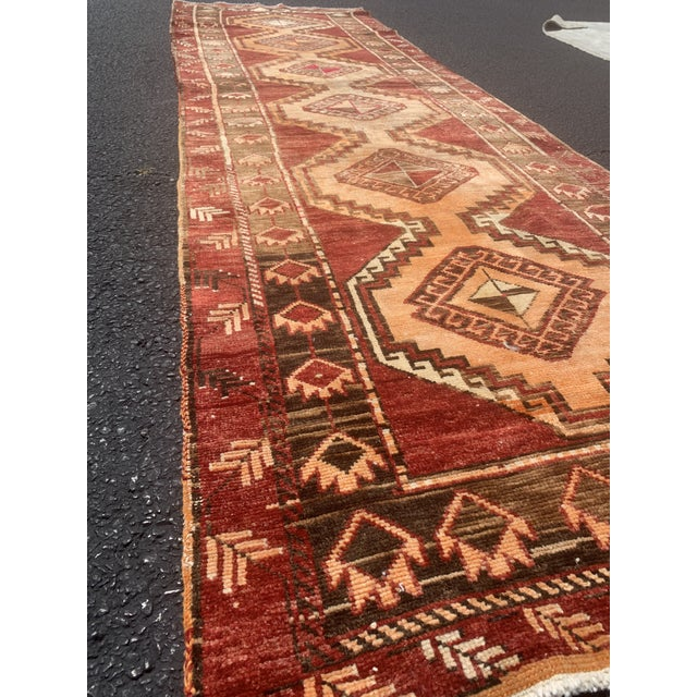 "Boho Chic 1950's Vintage Turkish Anatolian Runner Rug - 3'2""x11'2"" For Sale - Image 3 of 13"