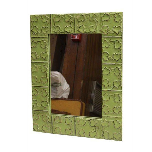 Cross & Leaves Lime Green Tin Mirror - Image 2 of 3