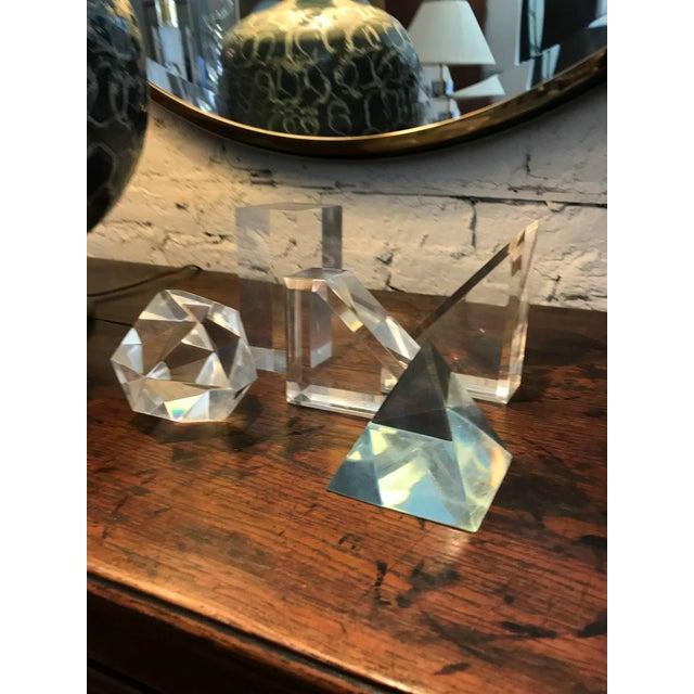 Set of Five Lucite Decorative Geometric Sculptures For Sale - Image 4 of 11