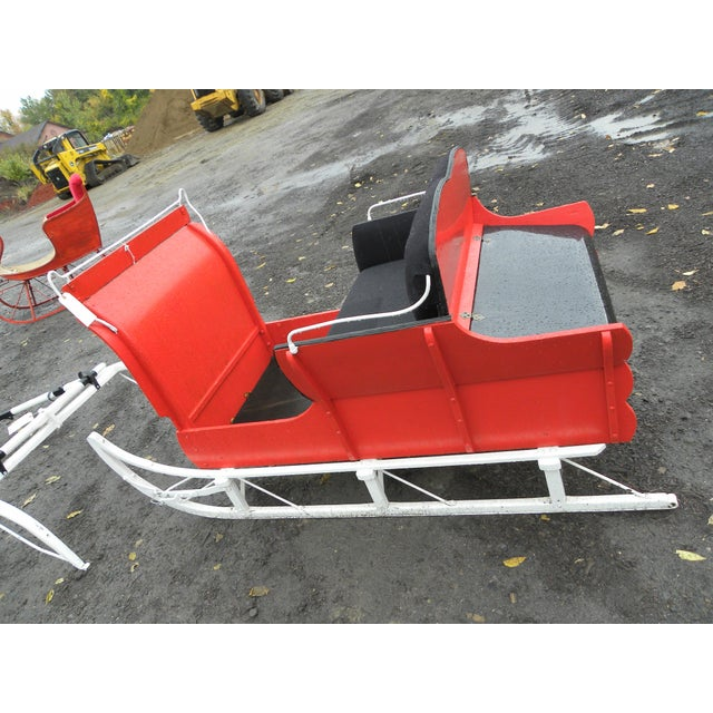 Equestrian Antique Restored Red Holiday Sleigh Sled - Image 9 of 11