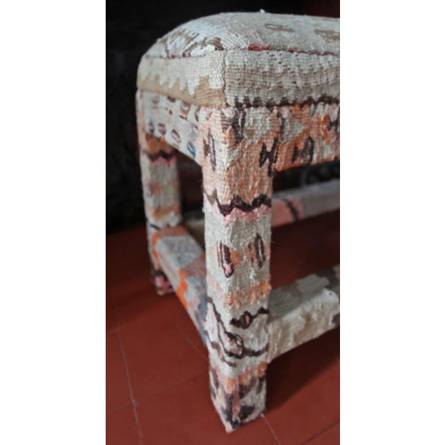 Traditional Late 20th Century Kilim Upholstered Bench For Sale - Image 3 of 7