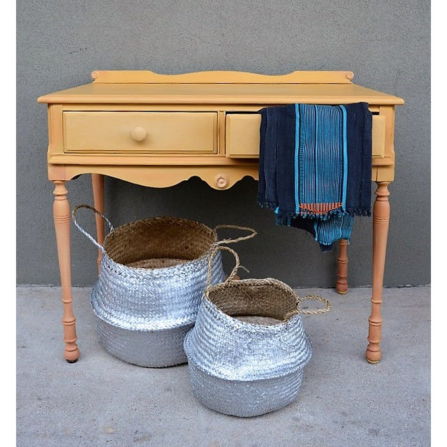 1910s Folk Art Yellow Painted Console Table With Decoupaged Drawers For Sale - Image 10 of 11
