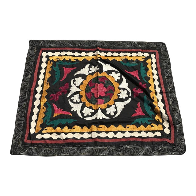 Vintage Small Handmade Suzani Fabric Table Cover For Sale