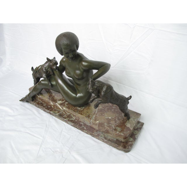 Late 19th Century Late 19th Century Antique Maurice Guiraud Riviere Nymphe Et Chevreaux Nude Woman With Goats Bronze Sculpture For Sale - Image 5 of 13