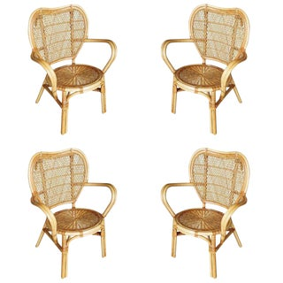 Restored Mid-Century Wicker and Rattan Dining Side Chair, Set of Four For Sale