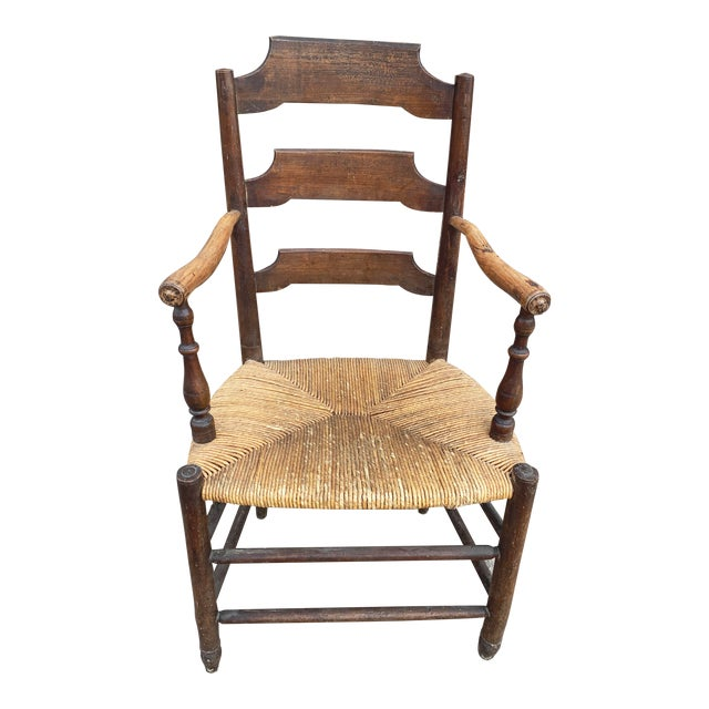 Early 19th Century French Ash Wood Rush Seat Armchair For Sale