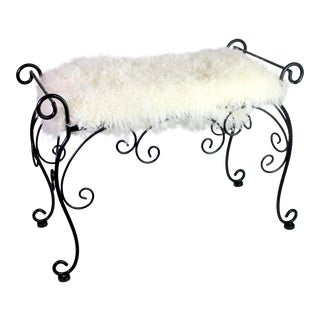 1950's Wrought Iron Hollywood Regency Bench Covered in White Mongolian Sheep Hair For Sale