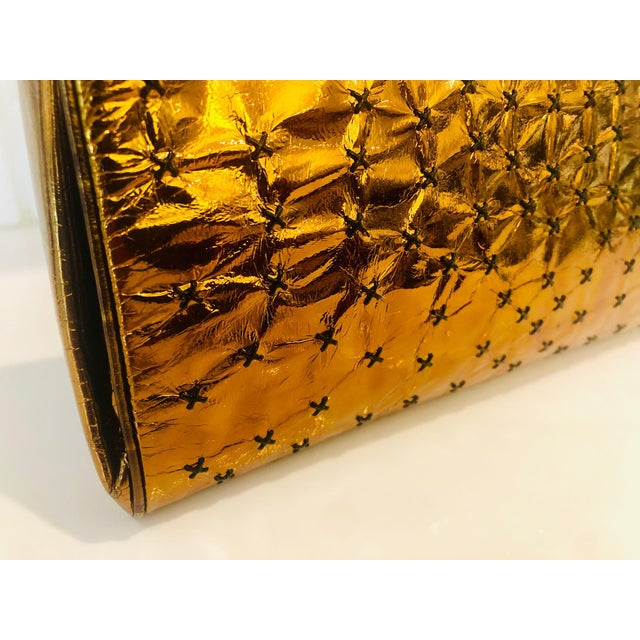 1960s Max Holzman Metallic Copper Leather Clutch For Sale - Image 4 of 11