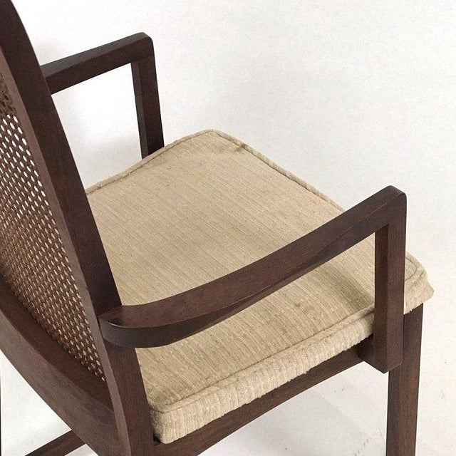 Set of Six Milo Baughman High Back Cane and Walnut Dining Chairs for Directional For Sale - Image 10 of 11