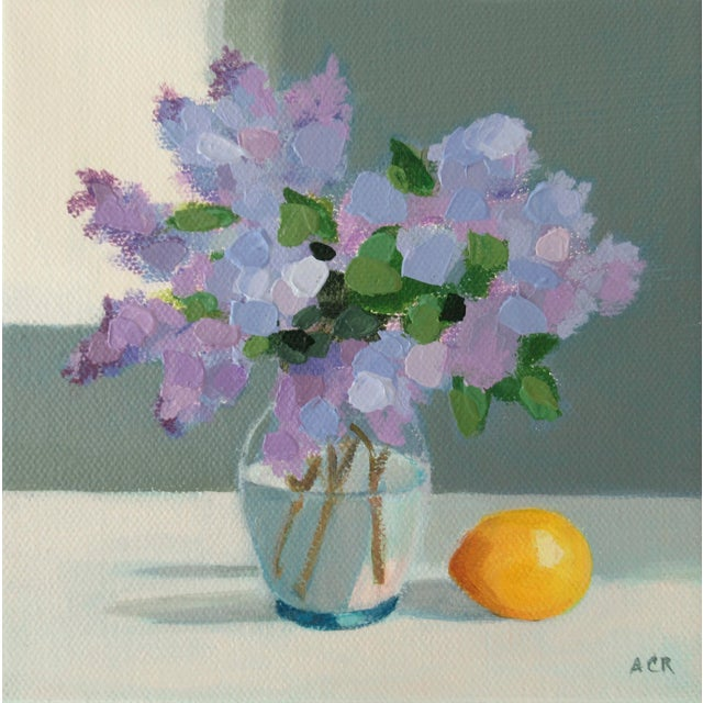 """""""Lilac and Lemon"""" Contemporary Floral Still Life Acrylic Painting by Anne Carrozza Remick For Sale"""