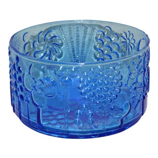 "Iittala ""Flora"" Pattern Blue Glass Bowl"