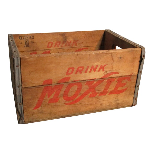 1956 Moxie Drink Wood Crate Box For Sale