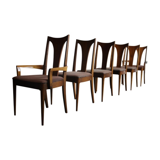 Broyhill Brasilia Walnut Dining Chairs - Set of 6 For Sale