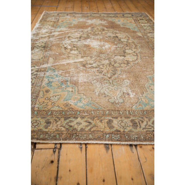"Vintage Distressed Oushak Carpet - 5'6"" X 8'6"" For Sale - Image 9 of 13"