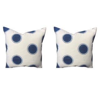 "Les Indiennes ""Dot Deco"" Pillows in Indigo Blue Dots - a Pair"