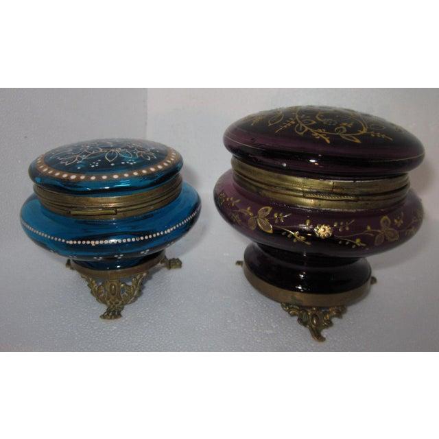 Victorian Czech Art Glass Ormolu Dresser Boxes - A Pair - Image 4 of 6