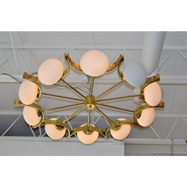 Italian Modern Round Brass and Ten Opaline Glass Globe Chandelier For Sale In Miami - Image 6 of 9