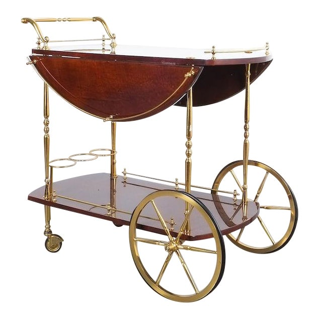 Aldo Tura Adjustable Brown Parchment Brass Bar Cart, 1960 For Sale