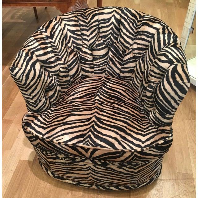 Tufted Zebra Swivel Club Chairs - Pair - Image 8 of 9