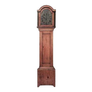 American Country style (19th Cent) stripped pine grandfather clock with round shaped top (not working)