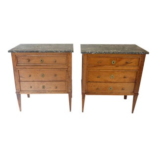 18th Century French Directoire Fruitwood Three Drawer Marble Top Chests - a Pair For Sale