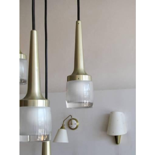 Brass Eight Hanging Light Brass Chandelier by Staff of Germany For Sale - Image 7 of 10