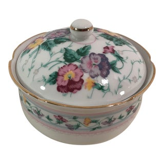 Vintage Japanese Pansy Covered Dish